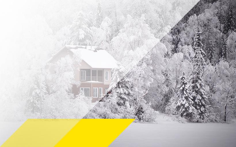 Winterlandschaft mit Haus