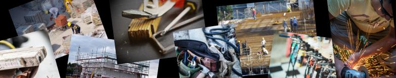 Banner mit Bildern von Werkzeug und Baustellen