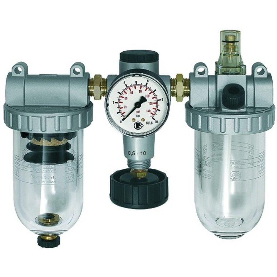 RIEGLER® – 3er-Wartungseinheit Standard Manometer Kunststoffbehälter Ablass halbautomatisch Baugröße 1