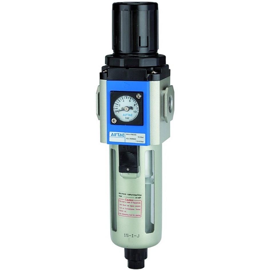 RIEGLER® – Filterregler »G«, PC-Beh., 5 µm, BG 300, G 3/8, 1,5 – 9 bar, HA
