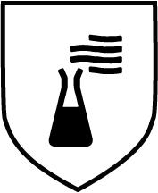 Piktogramm Gefahr durch Chemikalien - Schwarzes Reagenzglas mit Flüssigkeit