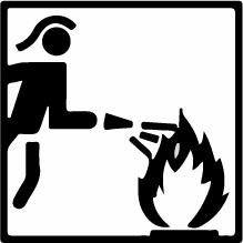 Piktogramm Feuerwehr-Schutzausrüstung- Schwarzer Feuerwehrmann mit Schlauch löscht Flamme
