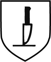 Piktogramm Gefahr Schnitt und Stichverletzungen - Messer schwarz