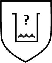 Piktogramm Gefahr durch Chemikalien - Schwarzes Glas mit Flüssigkeit und Fragezeichen