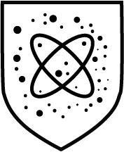 Piktogramm Gefahr durch radioaktive Partikel - Schwarze Partikel mit Atom