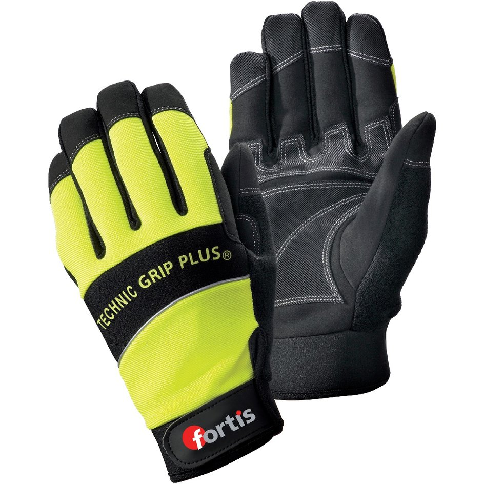 FORTIS – Montagehandschuh Technic Grip Plus, schwarz/gelb