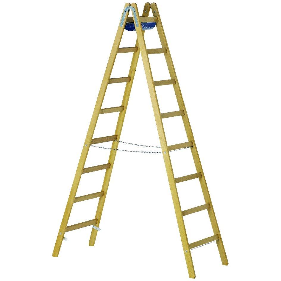 ZARGES – Stehleiter Z600 Holz, beidseitig begehbar